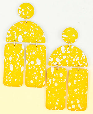 yellow  PAINT SPLATTERED EARRINGS