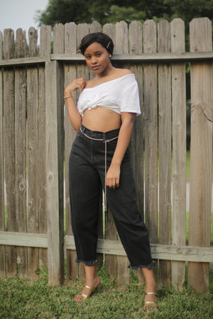 COOL MUVA' HIGH-WAISTED DISTRESSED MOM JEANS