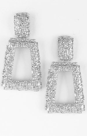PLATINUM' HAMMERED EARRINGS