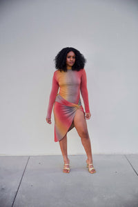 HERIZON' MULTI COLORED ASYMMETRIC MIDI DRESS