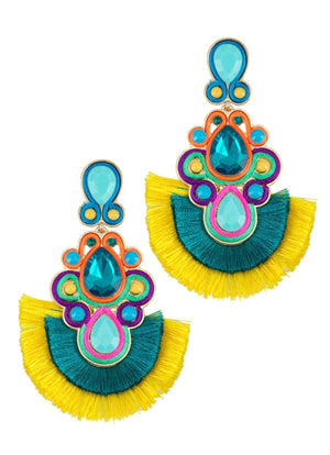 JEWELED FEATHERED TASSEL EARRINGS-YELLOW TURQUOISE
