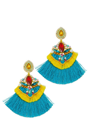 TURQUOISE ORNATE DOUBLE TASSEL EARRINGS