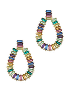 MULTICOLORED' CRYSTAL PAVE TEAR DROP EARRINGS