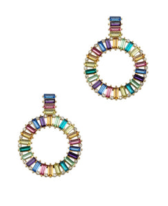 MULTICOLORED' CRYSTAL PAVE CIRCLE DROP EARRINGS