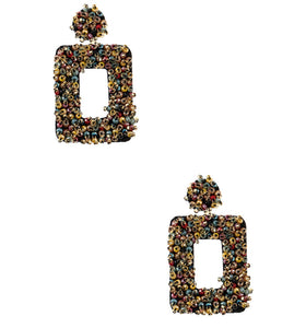 REC TANGLED' DARK MULTI BEADED EARRINGS
