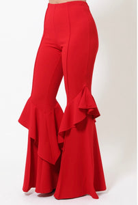 LAYERED' RUFFLE BELL BOTTOM PANTS-RED