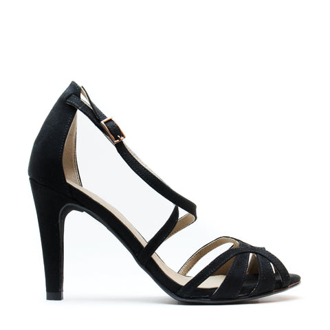 ADRI BLACK WOMAN VEGAN T-STRAP SANDAL