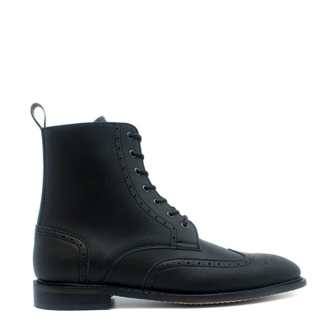 ALEX BLACK MAN VEGAN BROGUE WING TIP TOE BOOT