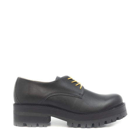 ALWIN BLACK LACE UP DERBY SHOES WOMEN