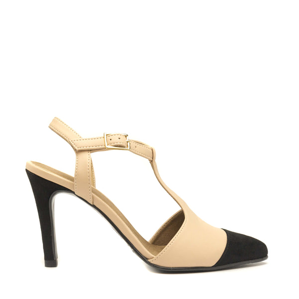 ALYA NUDE POINT CAP T STRAP SHOE STILETTO HEEL