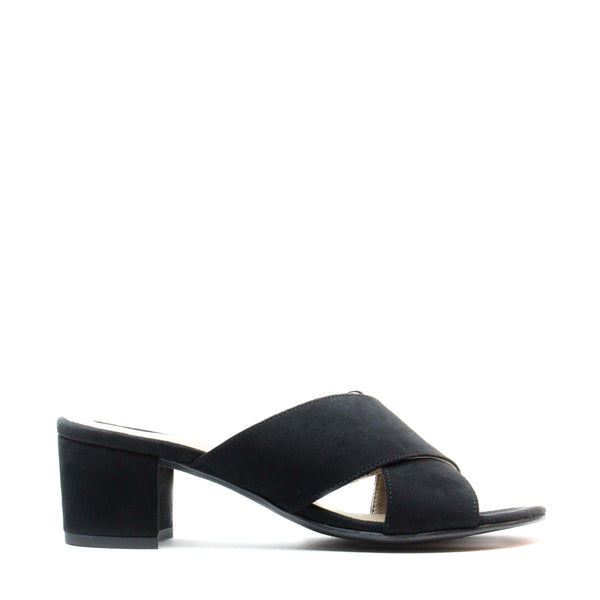 ANITA BLACK OPEN BACK SANDAL WITH A BLOCK HEEL