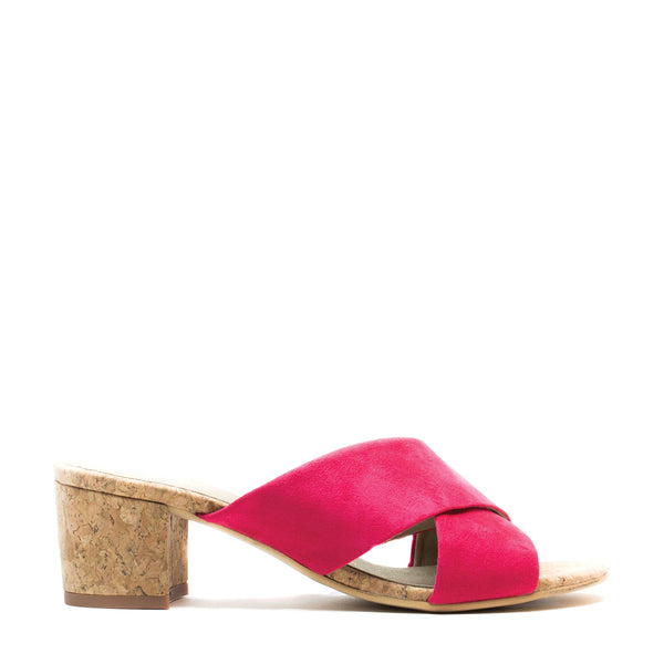 ANITA PINK OPEN BACK SANDAL WITH A BLOCK HEEL