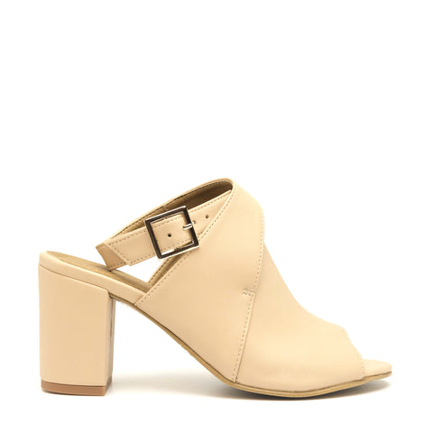 ATIK NUDE OPEN BACK PEEP TOE SHOES
