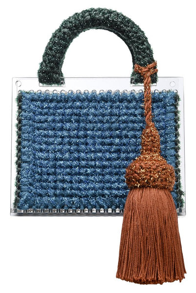Colour Block Purse with a Tassel and Detachable Belt
