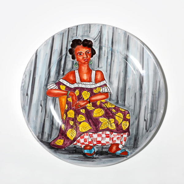 African print lady on gray