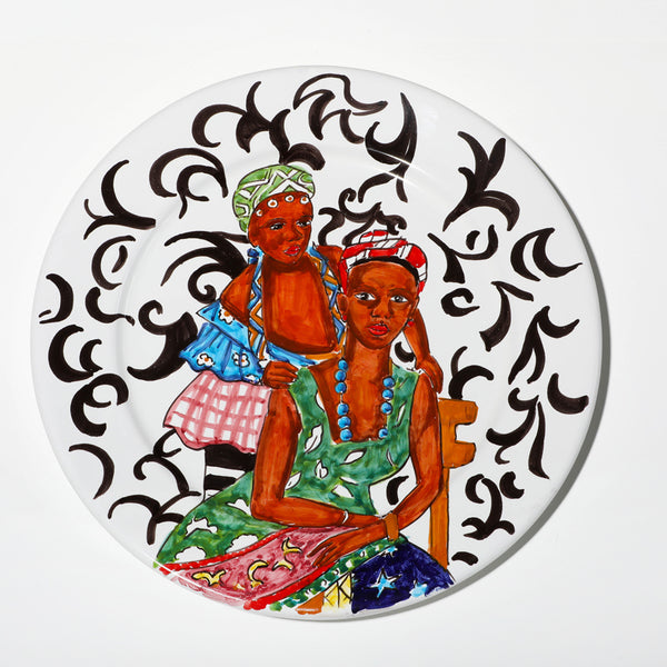African print two ladies plate