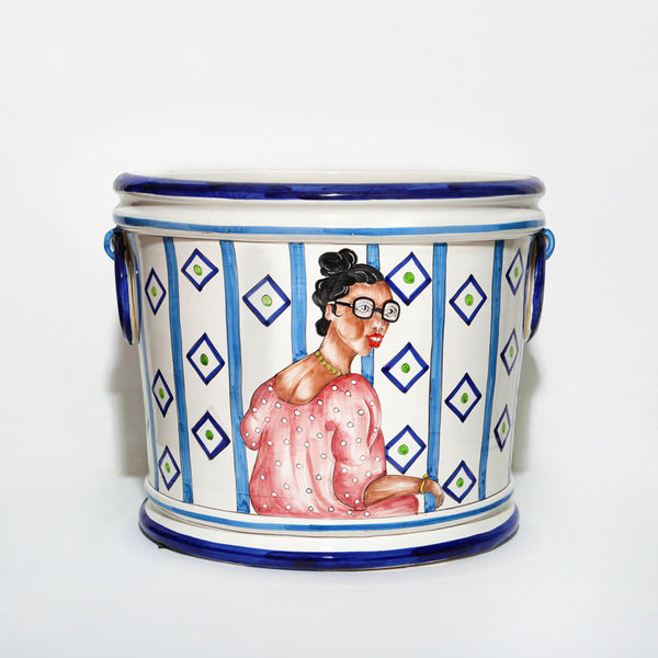 African Lady with Glasses Pot
