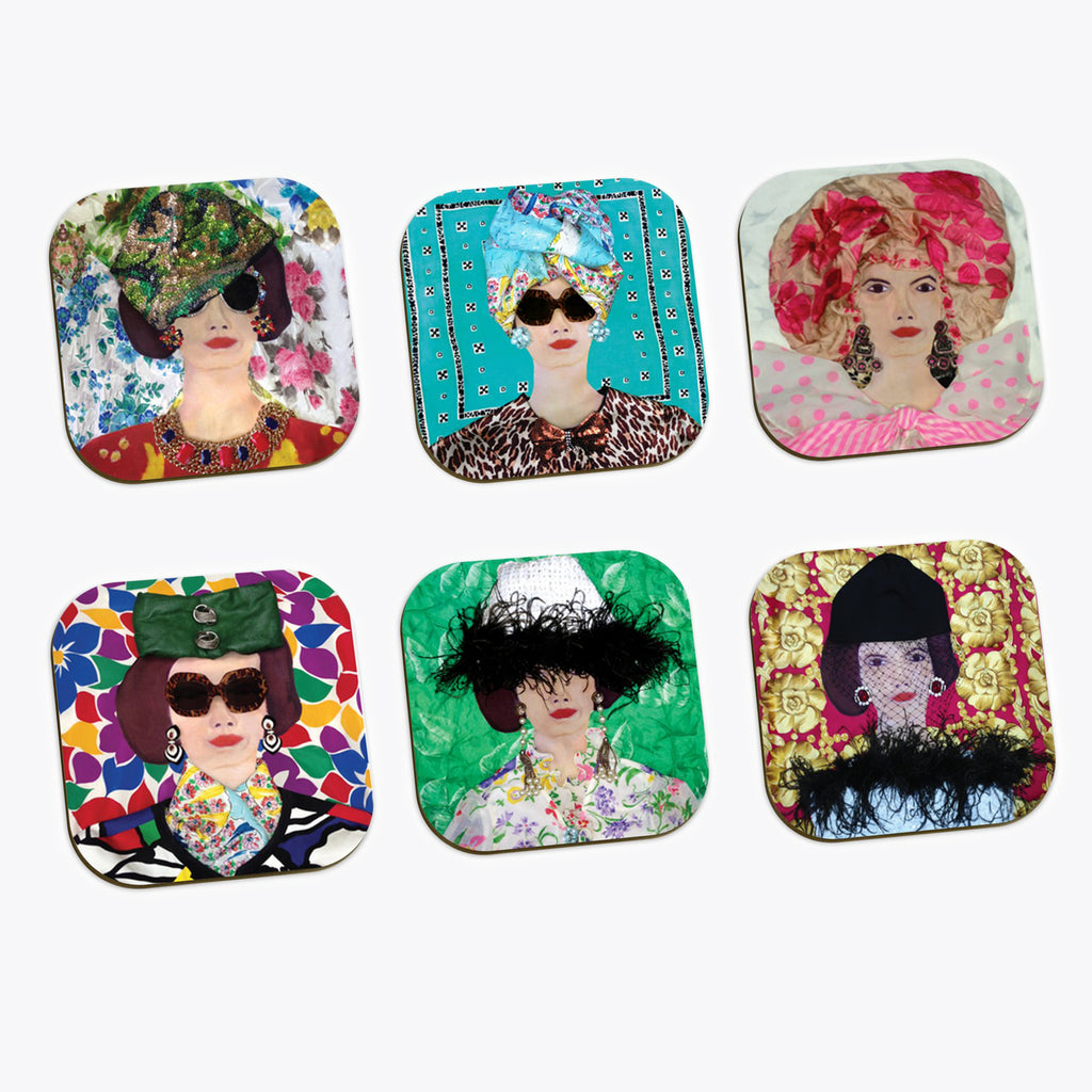 Travelling Babe Coasters set of 6