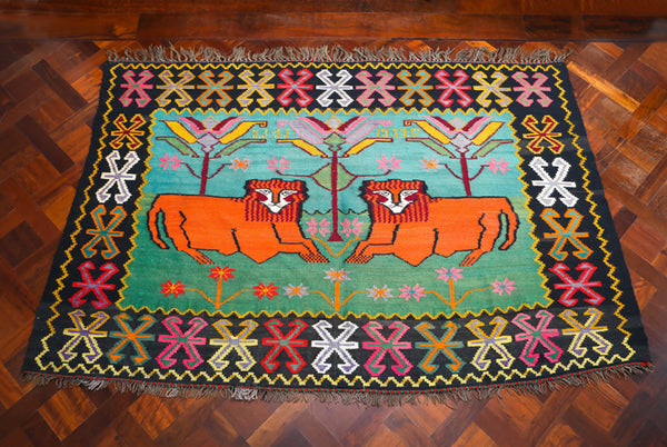 Vintage Georgian Kilim with two Lions