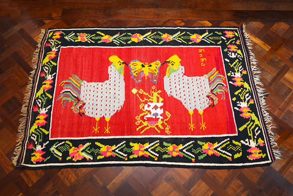Vintage Georgian Kilim with Roosters