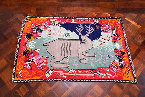 Vintage Georgian Deer Kilim