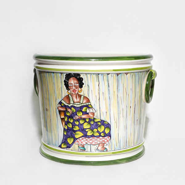 African Lady on a Chair Pot