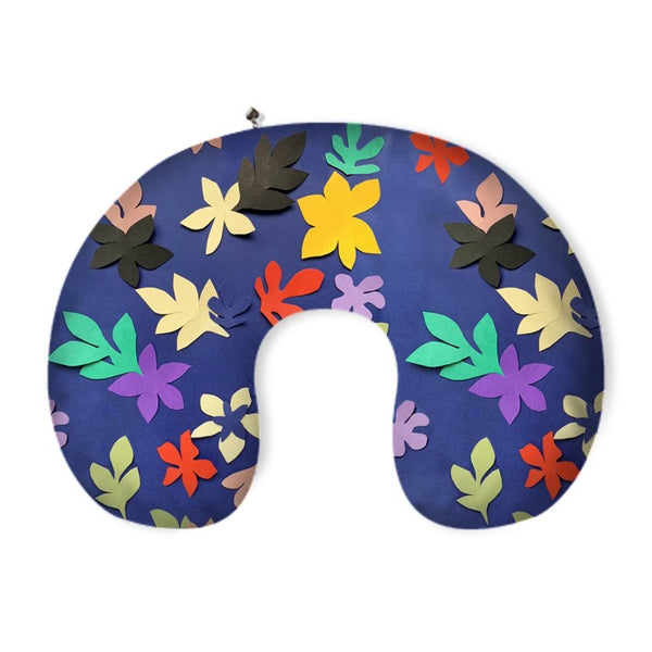 Tata Naka Leaves on Blue Printed Neck Pillow