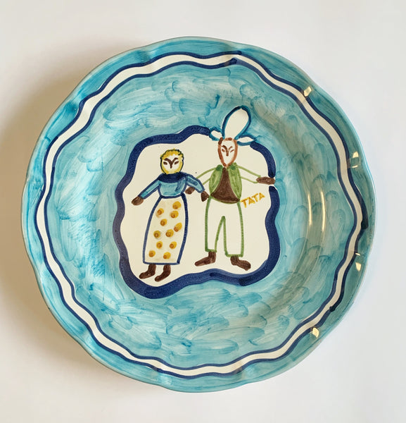 Hand Painted Ceramic Plate Baby Blue