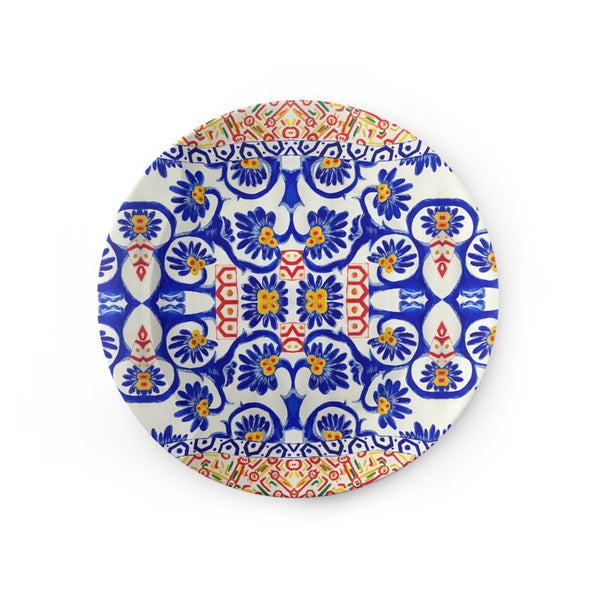 Blue and White Ornament print Ceramic Plate