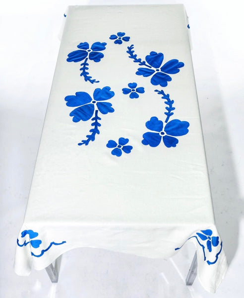 Floral Applique Linen TableCloth