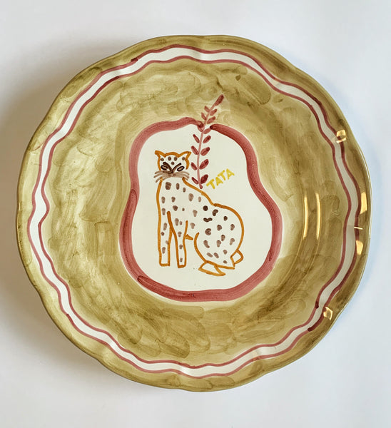 Hand Painted Ceramic Plate Cream