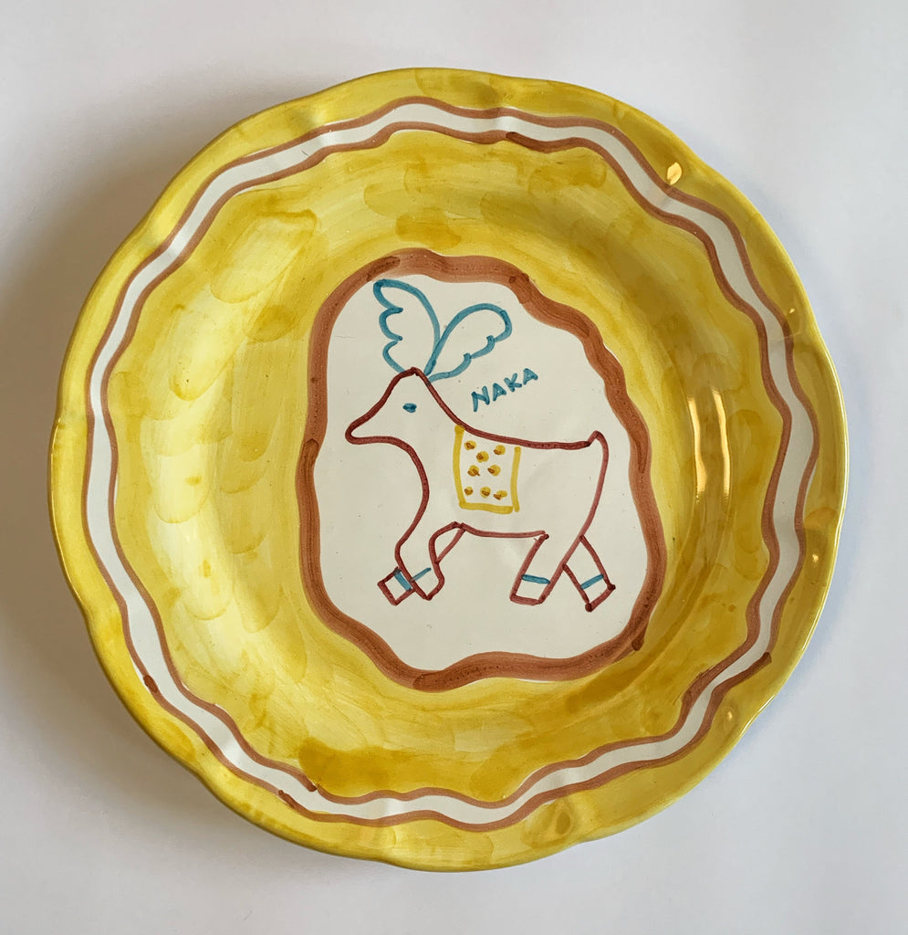 Hand Painted Ceramic Plate Yellow