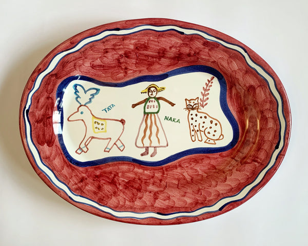 Hand Painted Ceramic Serving Platter