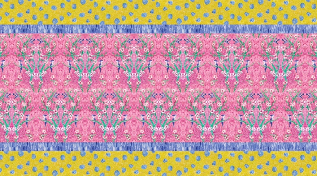 Printed Tablecloth Pink with Yellow Border