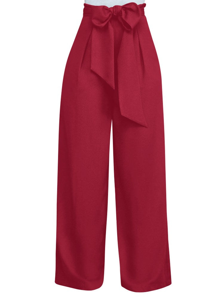 Pure Color Bowtie Casual Pants