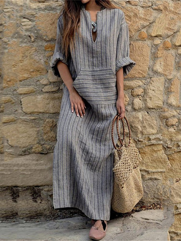 Fashion Long-sleeved Pocket Striped Casual Dress