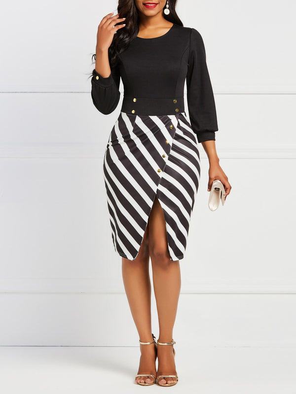 Contrast Color Striped Long Sleeve Bodycon Dress