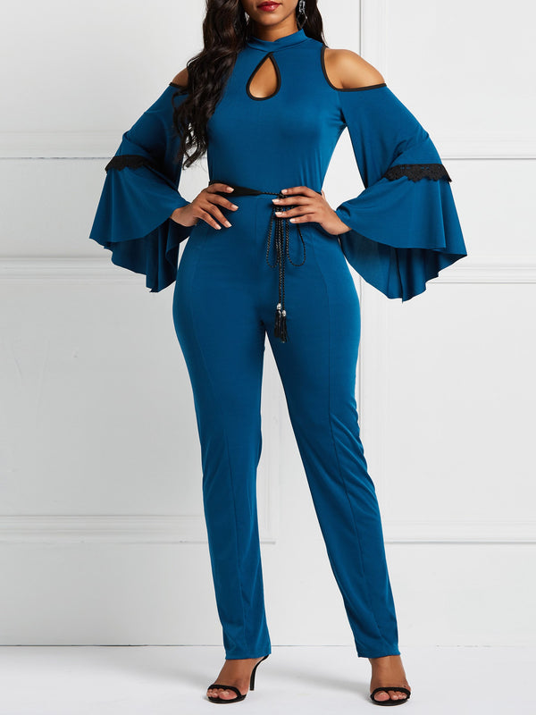 Hollow Patchwork Bell Sleeves Jumpsuits