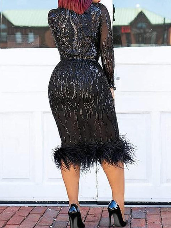 Stitching Fur Sequins Bodycon Dress