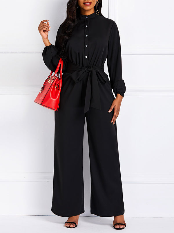 Full Length Casual Plain Wide Legs Slim Jumpsuits