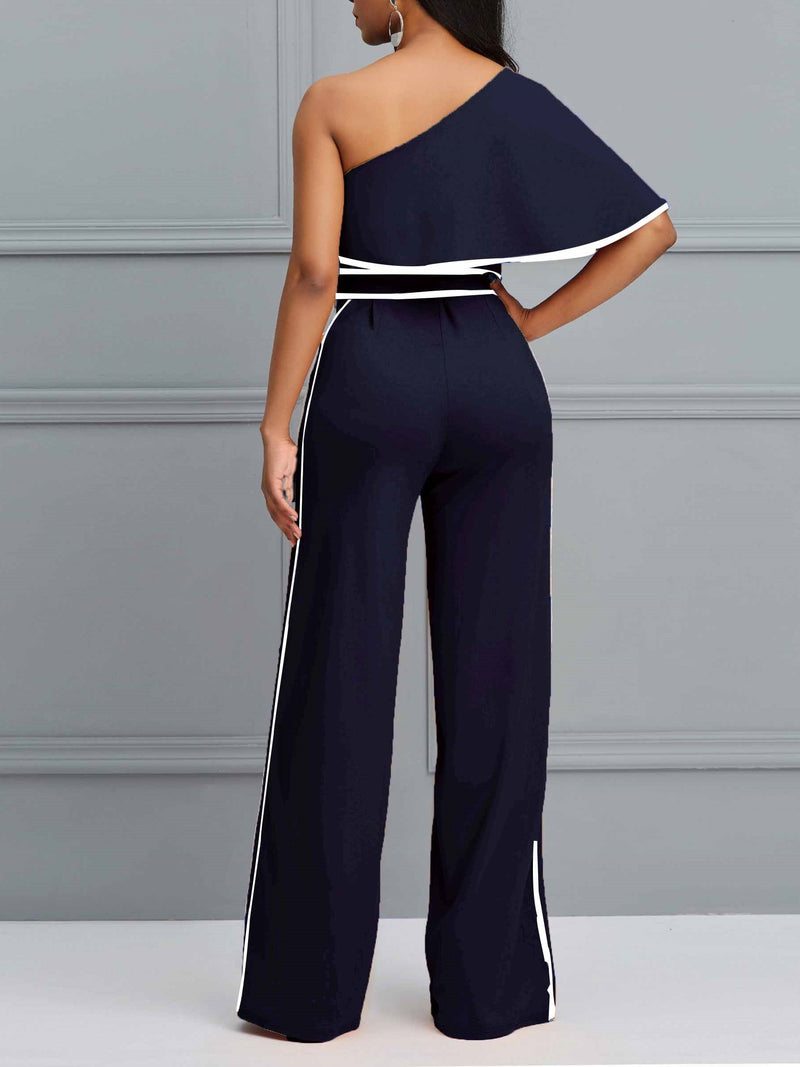 Casual Stripe Full Length Mid-Waist Slim Jumpsuits