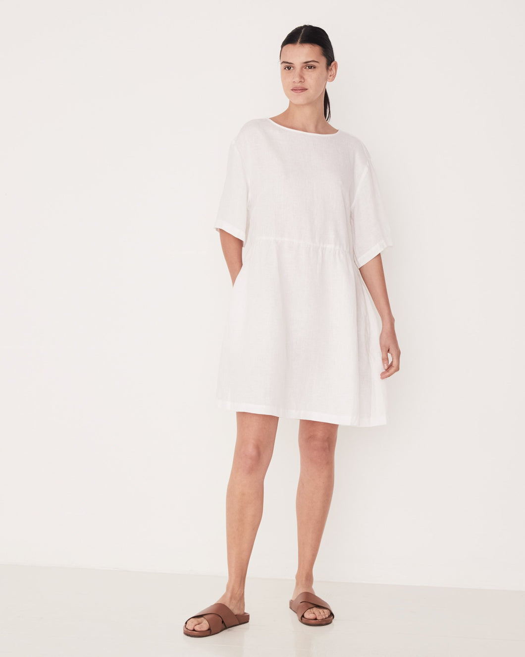 Drawn Dress - Available in White & Seafoam