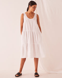 Tiered Linen Dress White