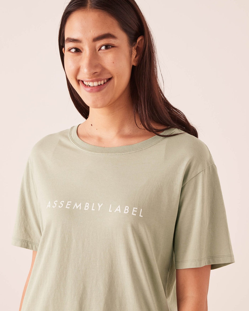 Logo Cotton Crew Tee Soft Green/White