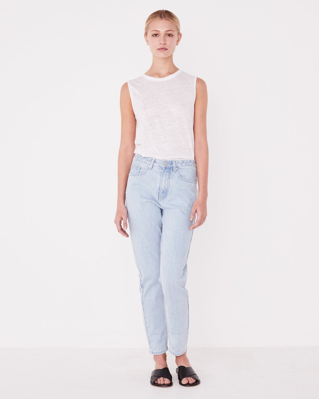 High Waist Rigid Jean- Available in Vintage White & Pacific Blue