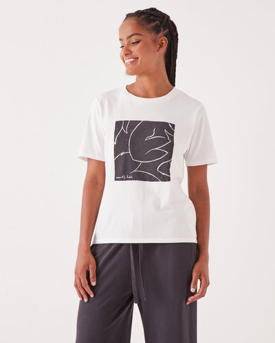 Abstract Tee AntiqueWhite/WashedBlack