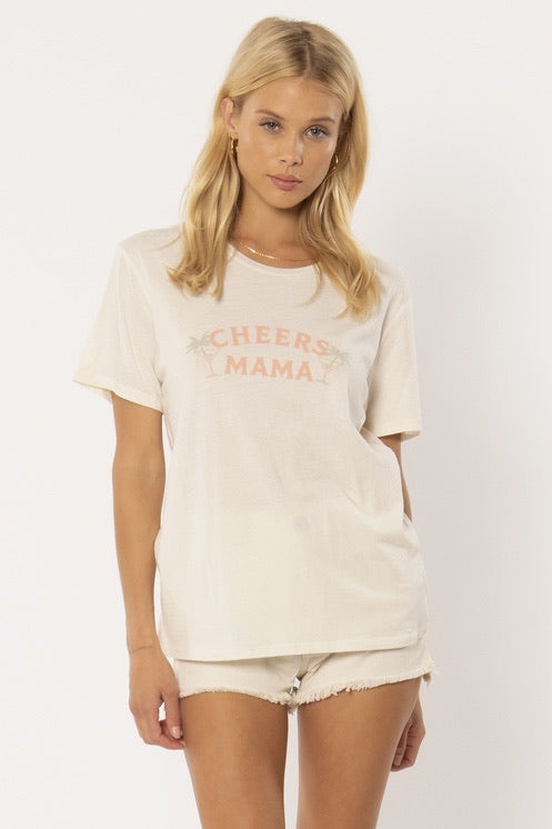 Cheers Mama Knit Tee Vintage White