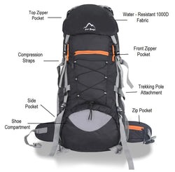 Yo! Black Hiking Camping Backpack 65L With Rain Cover