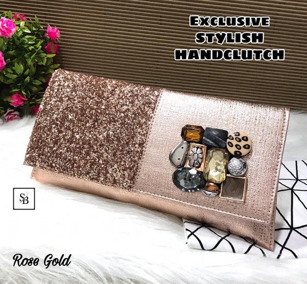 Floral Unique Clutch - Rose Gold
