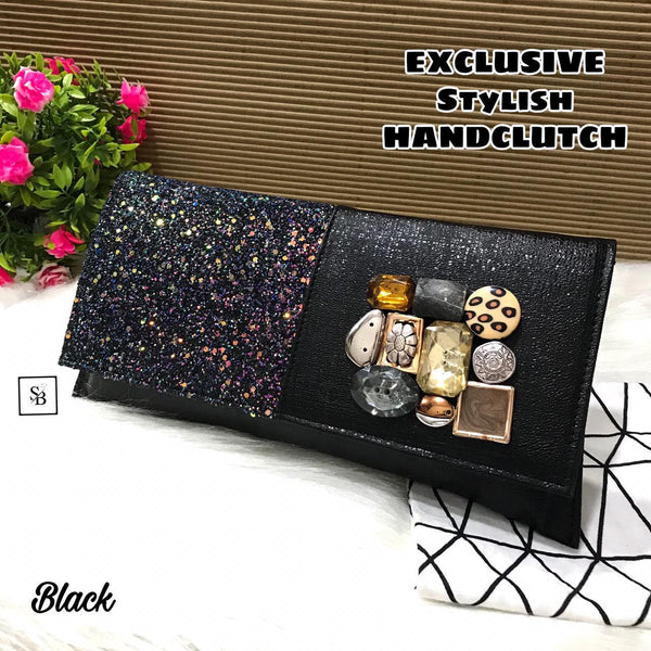 Floral Unique Clutch - Black
